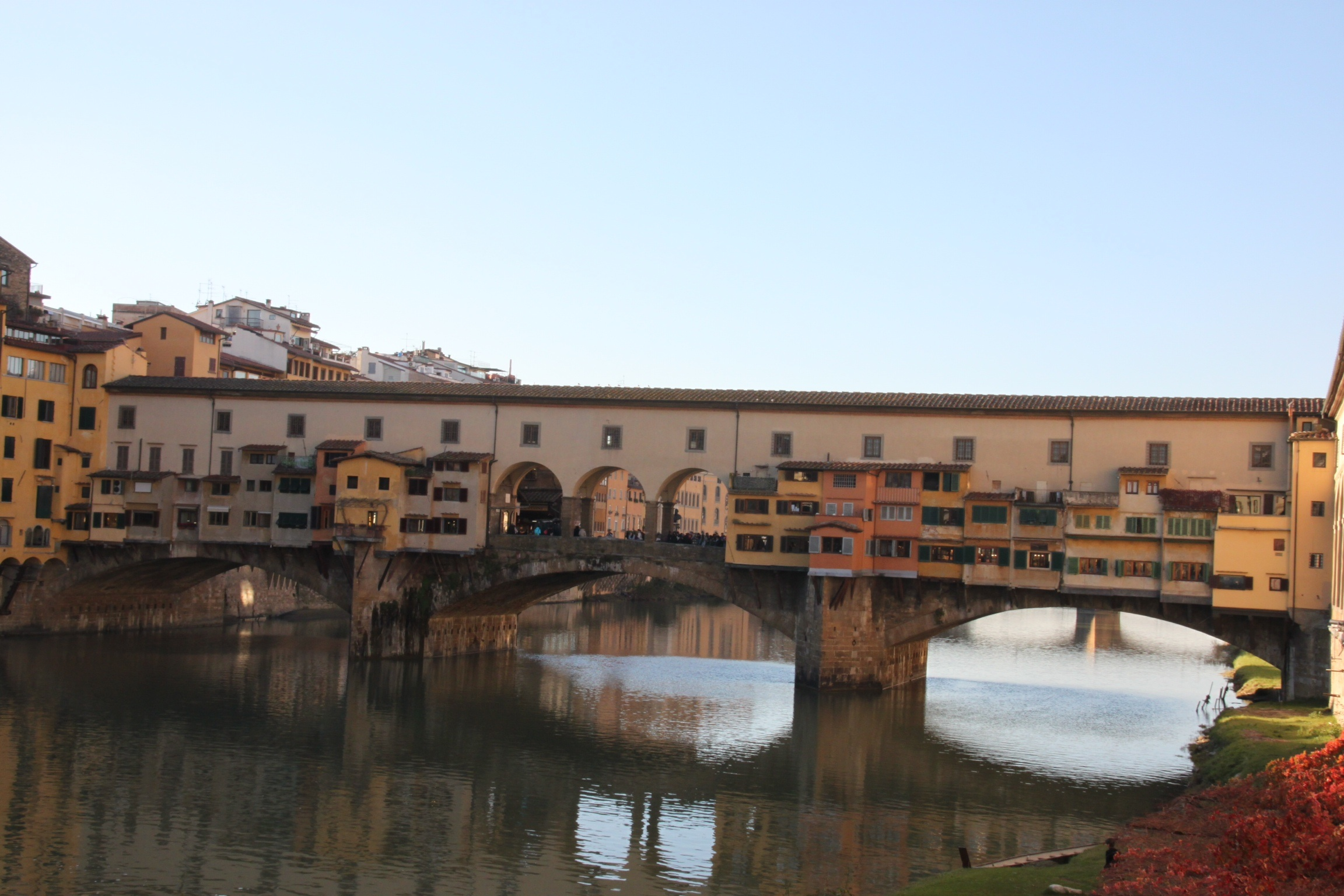 Florence's famous Ponte Vecchio bridge with shops across it