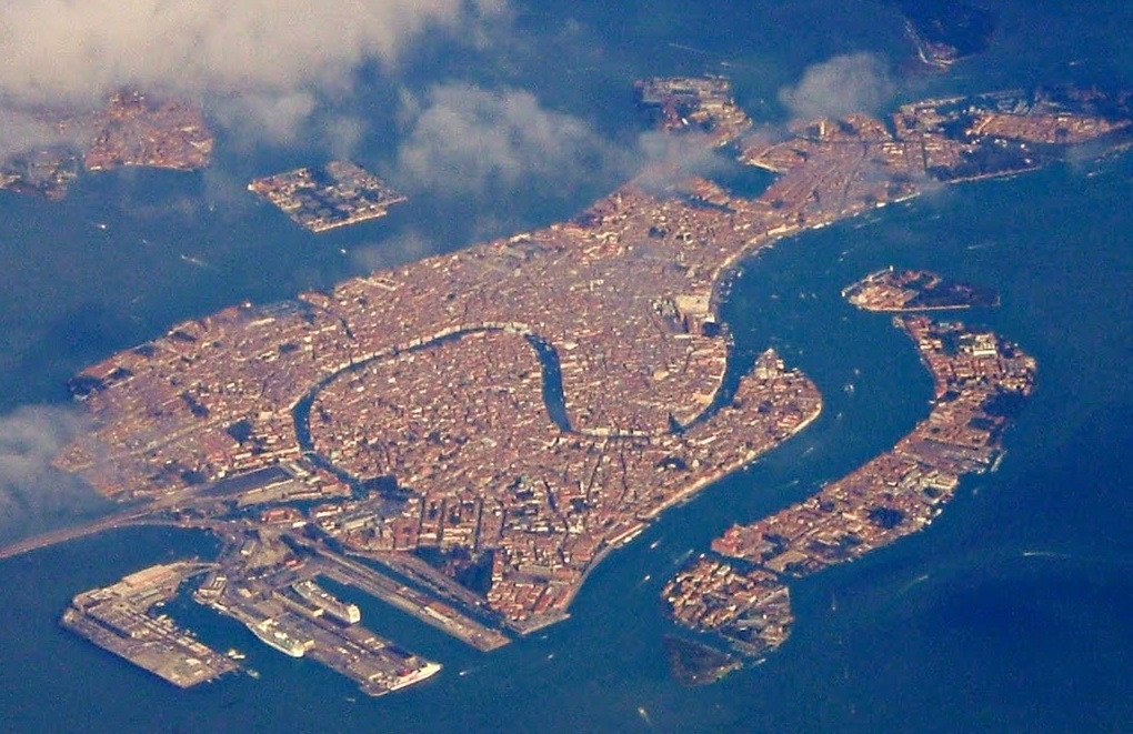 Aerial photo of the city of Venice and the lagoon in Italy