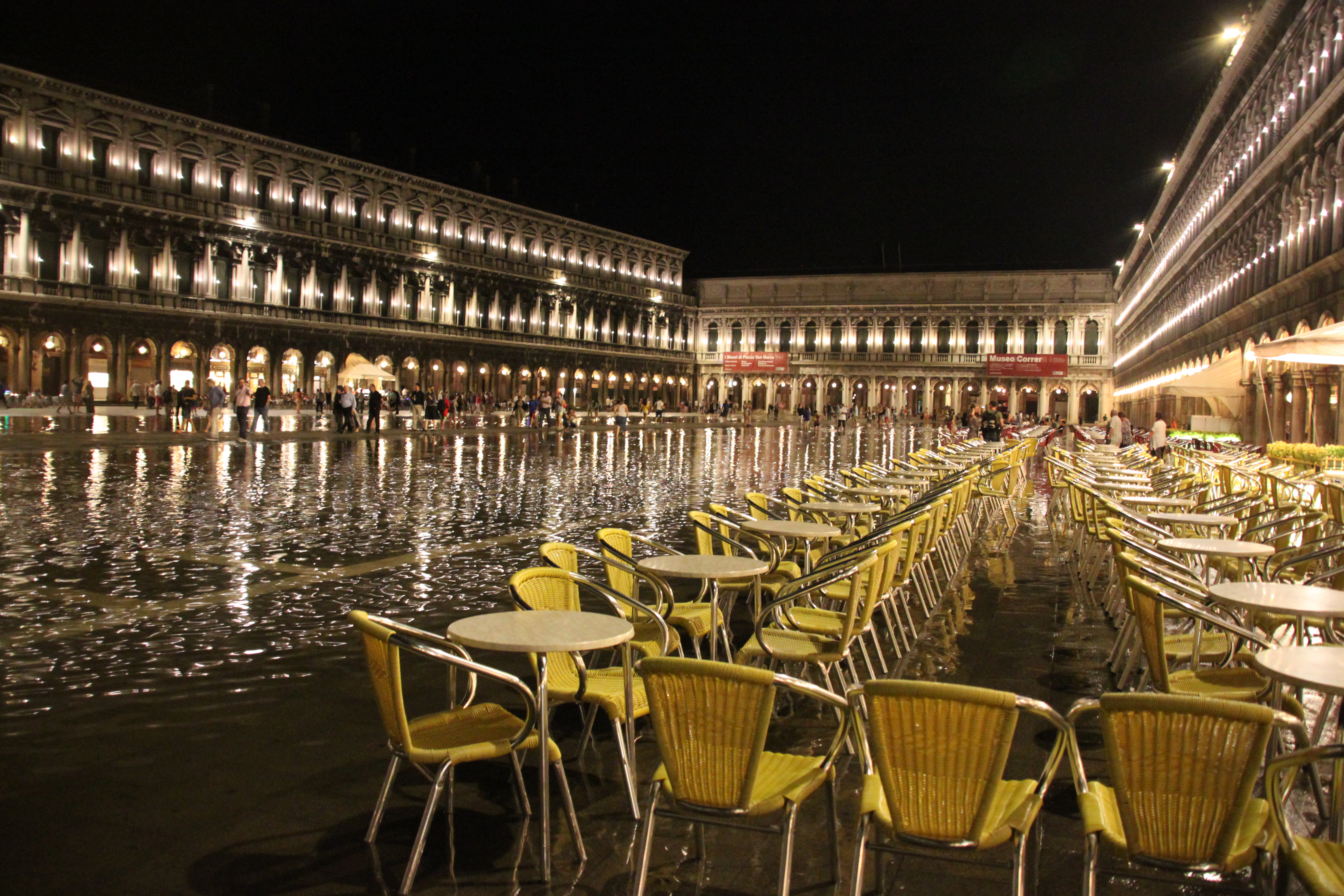 High tide floods into St Mark's Square - Piazza San Marco - in Venice, June 2014