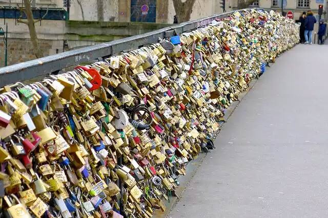 Love is everlasting - padlocked lovelocks on a Paris bridge