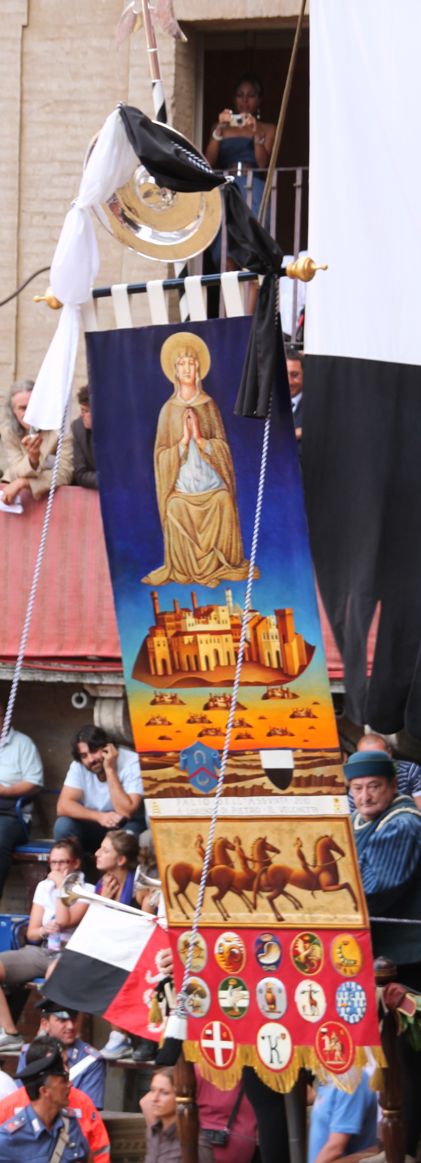 The Palio or banner for the Palio dell'Assunta, Siena, August 2010
