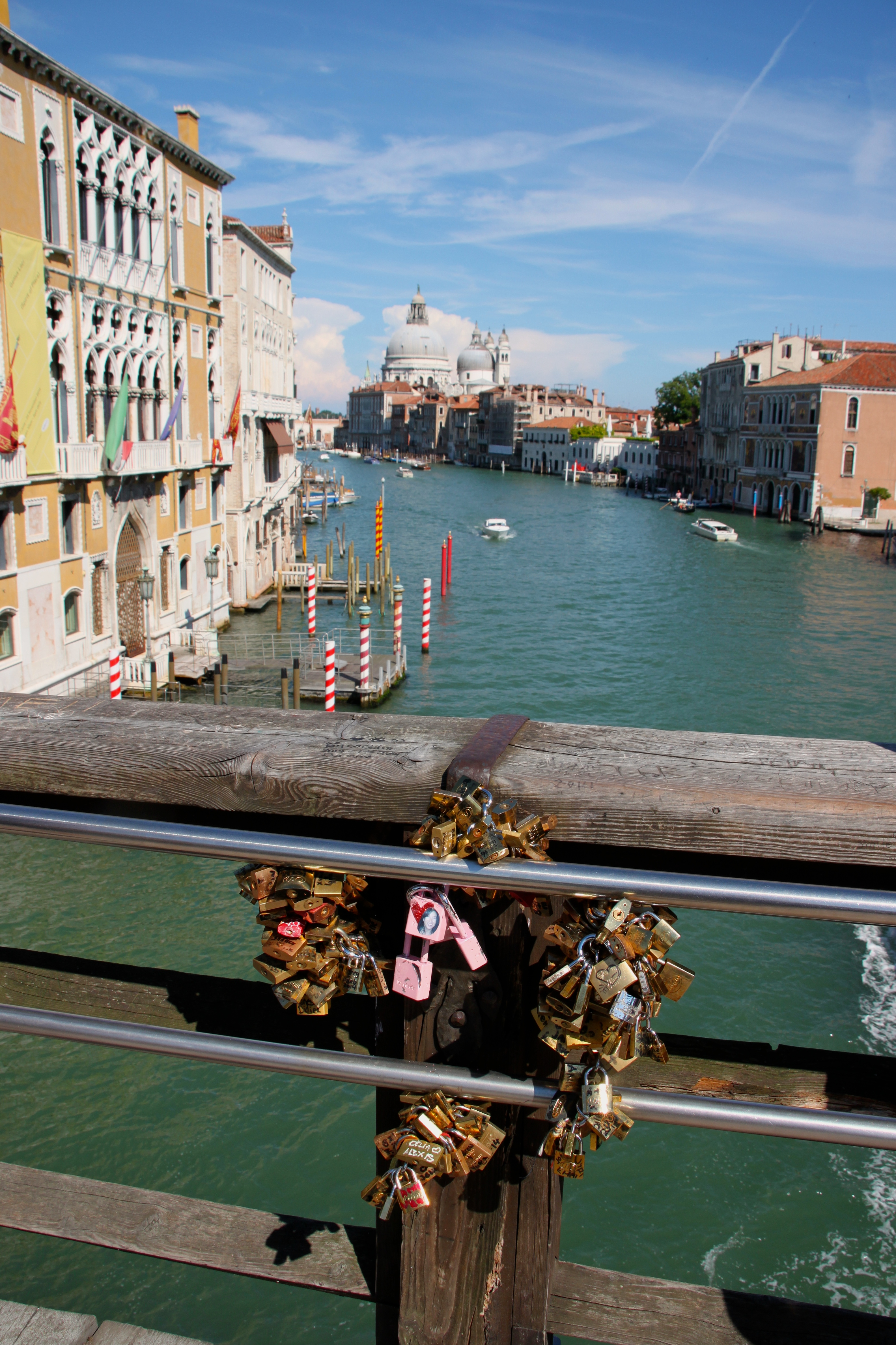 Lovelocks litter the wooden Accademia bridge spanning the Grand Canal, Venice
