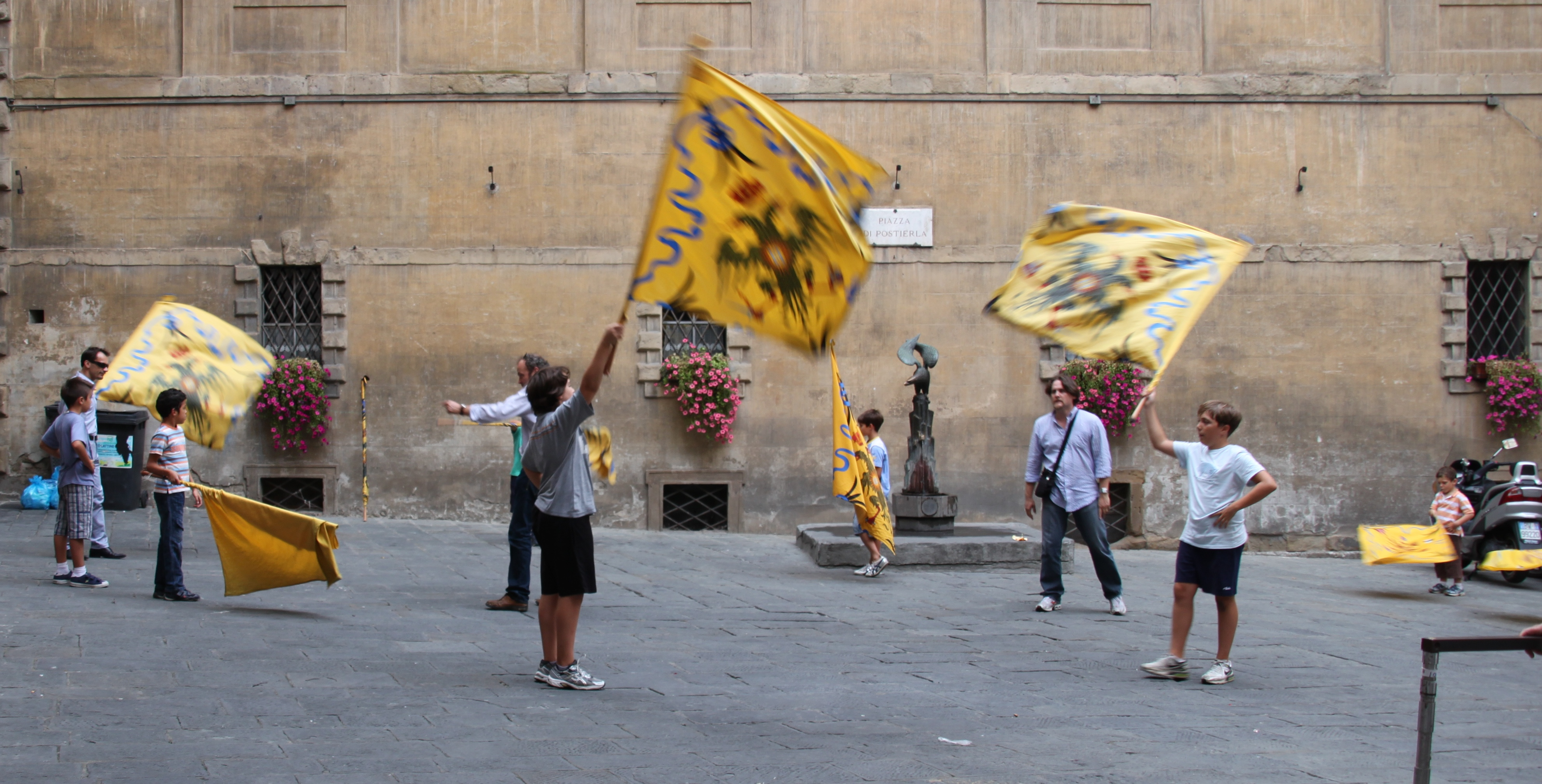 Flag bearers start at a young age in Siena, Tuscany