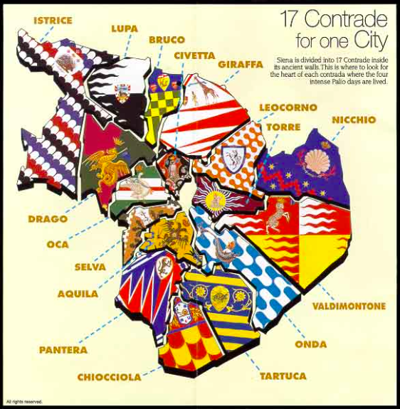 Map of the 17 different contradas in Siena showing their flag colours and mascot