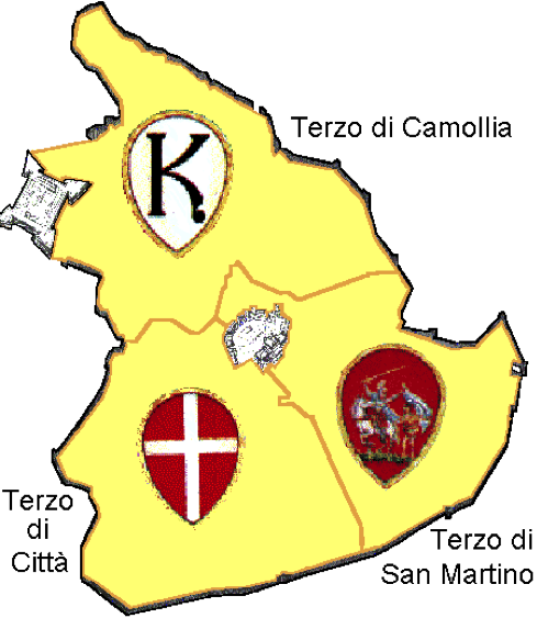 Siena Terzi - map of the 3 zones of the city of Siena, Tuscany