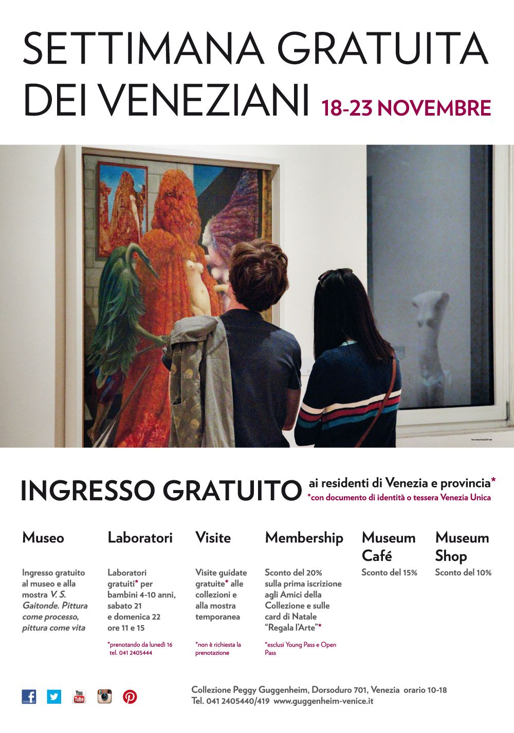 The Peggy Guggenheim Museum is free for Venetians during the Festa della Salute