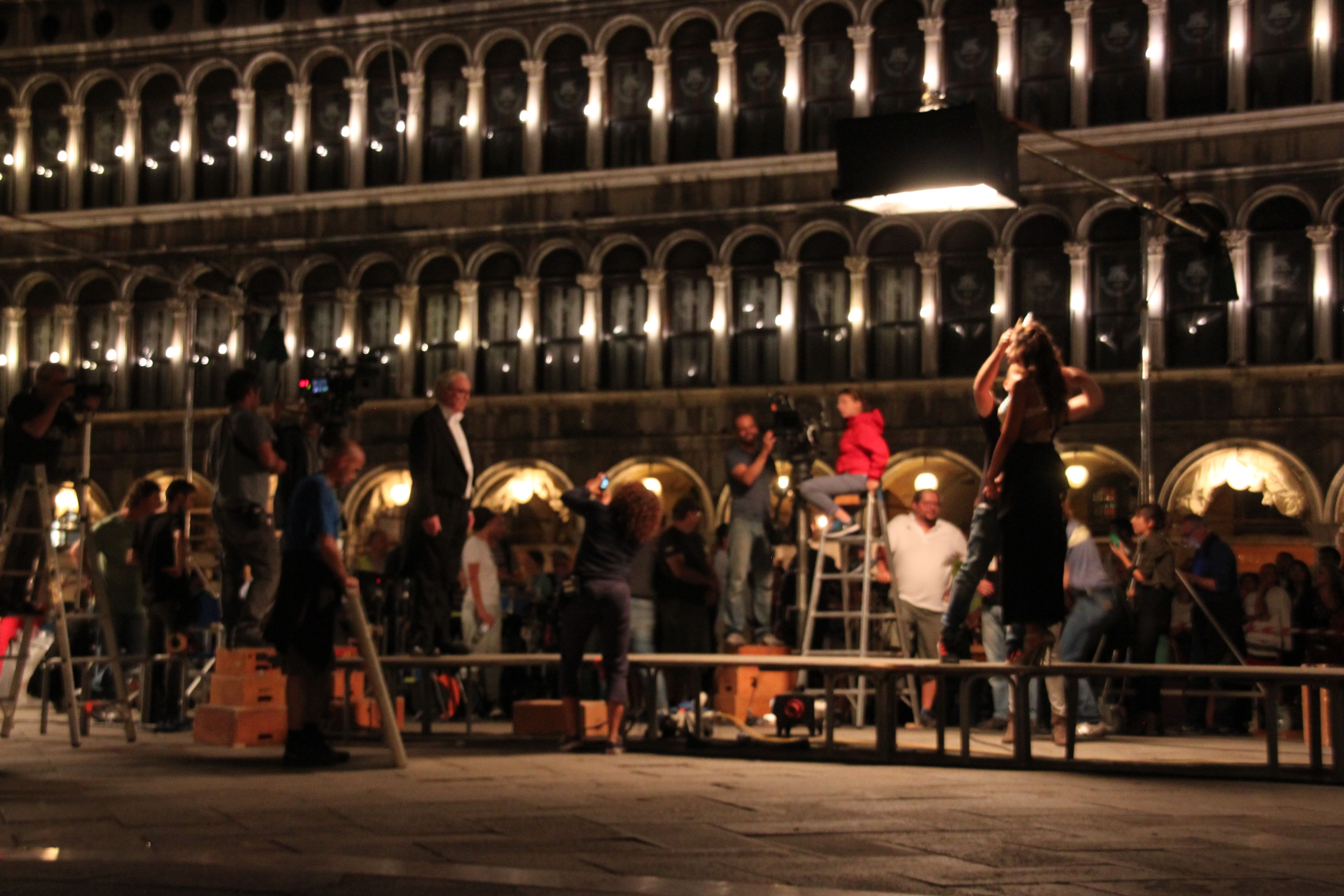 Michael Caine filming in Piazza San Marco, summer 2014