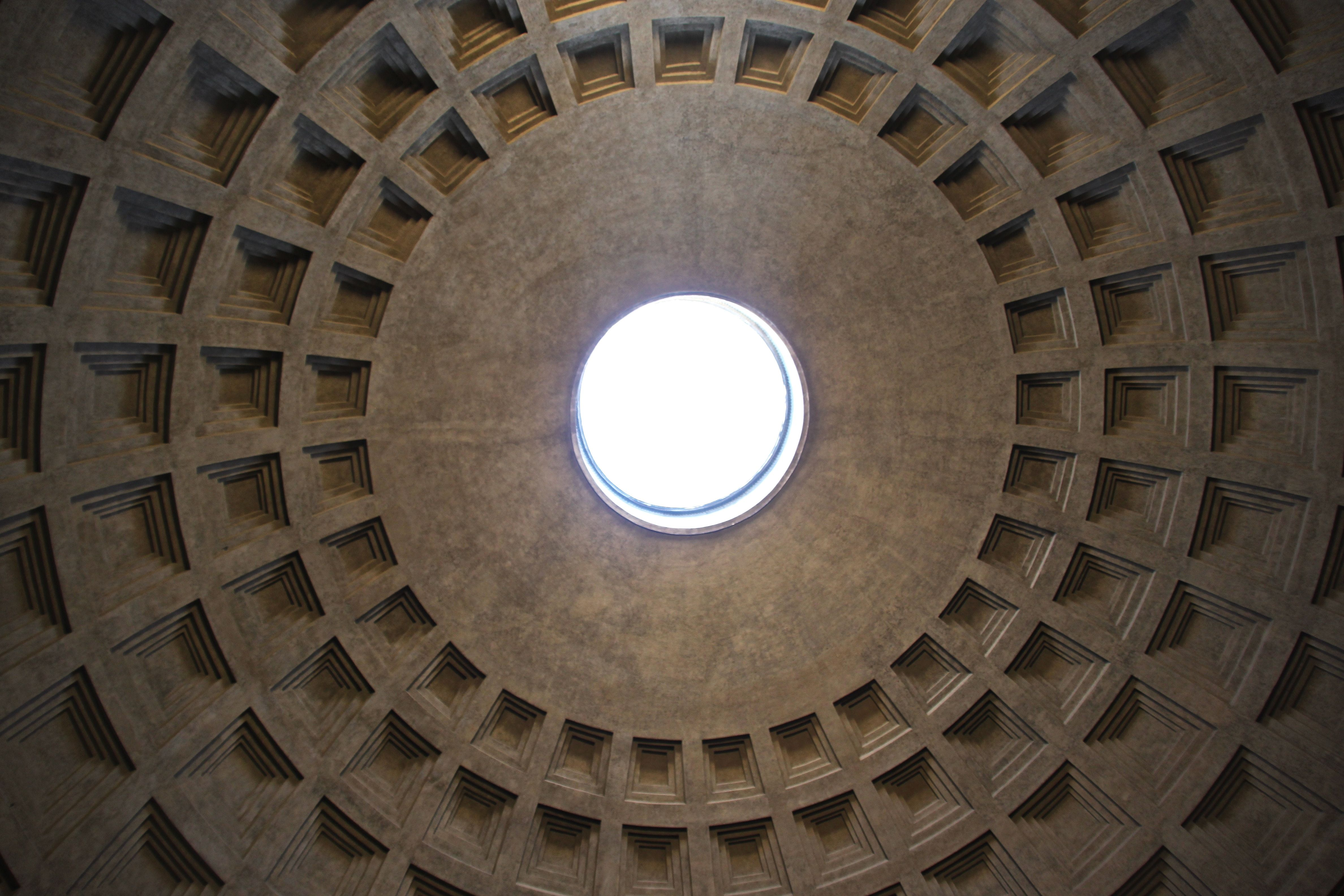 The inside of the 2000 year old concrete dome of the Pantheon, Rome