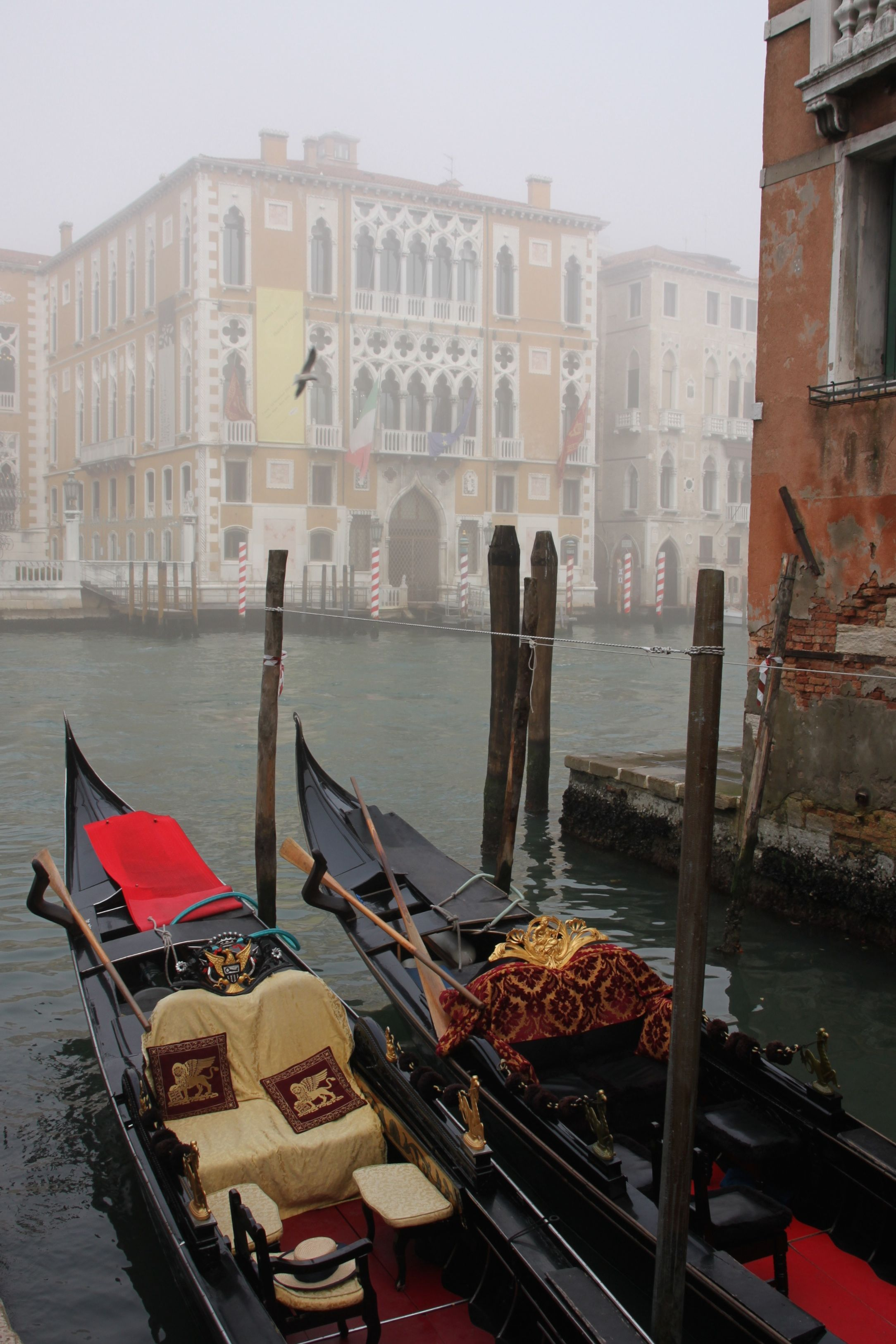 Palazzi merge into the mist on the Grand Canal