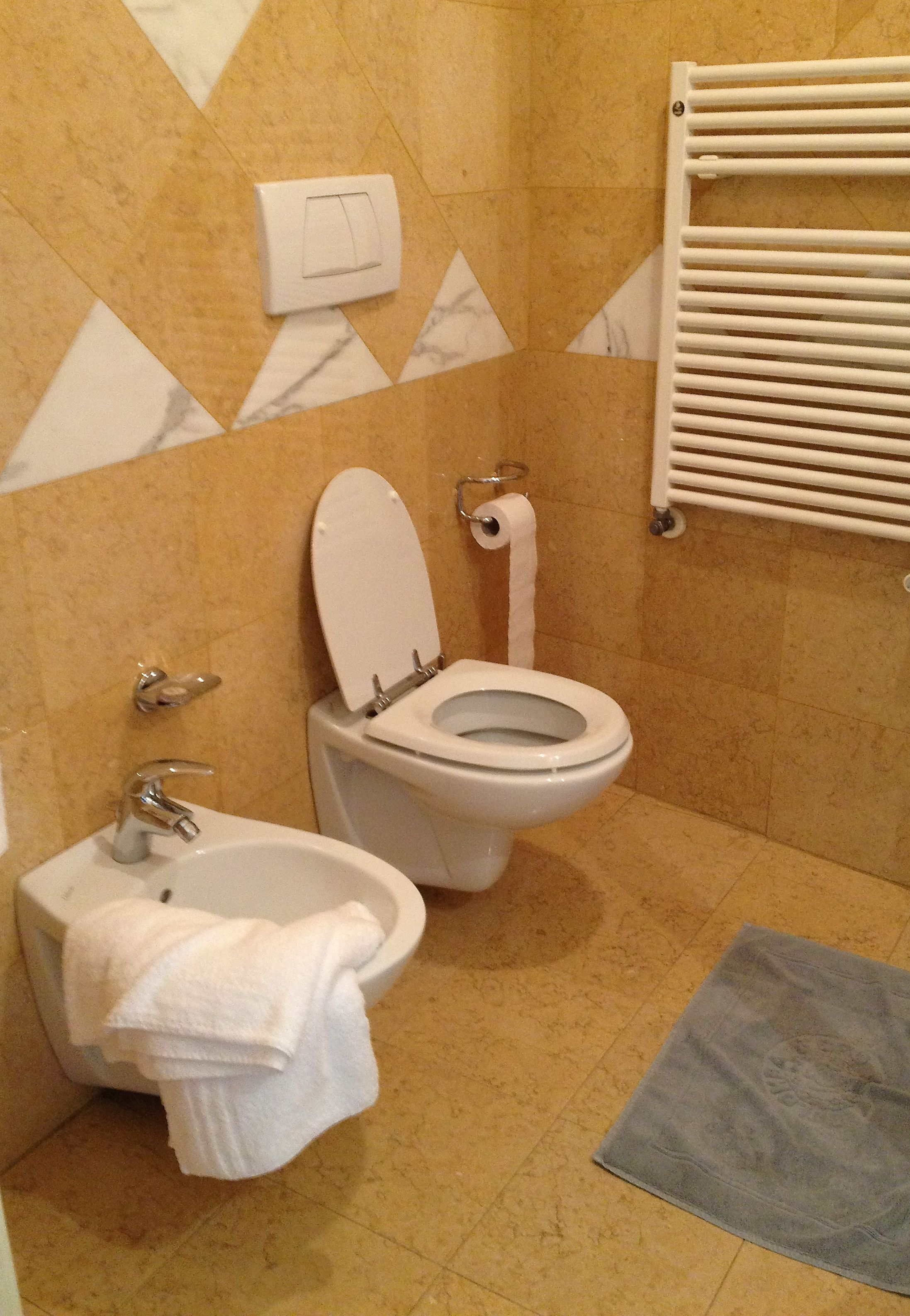 A typical Italian hotel bathroom