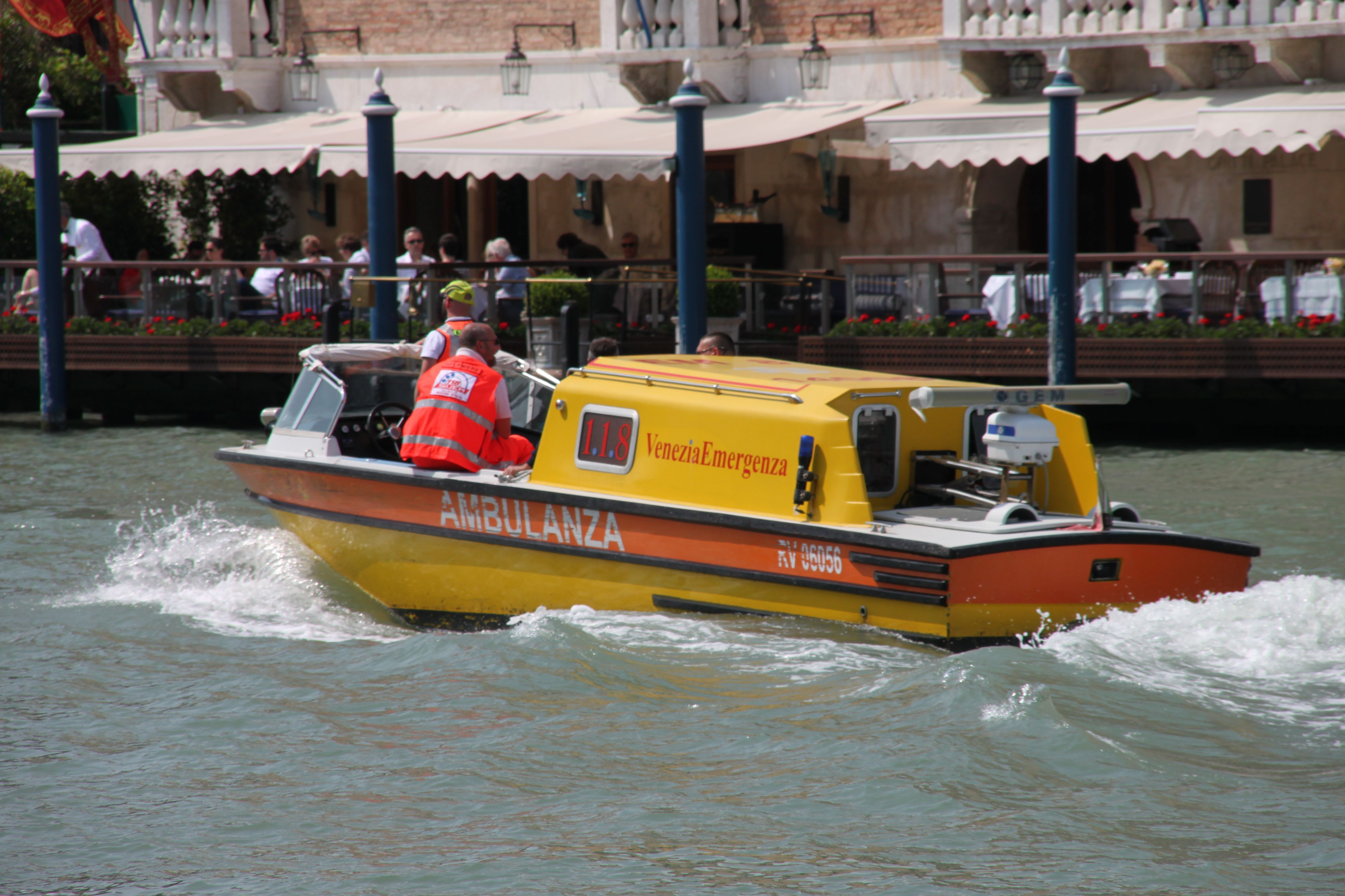 Water ambulances speed through the canals of Venice