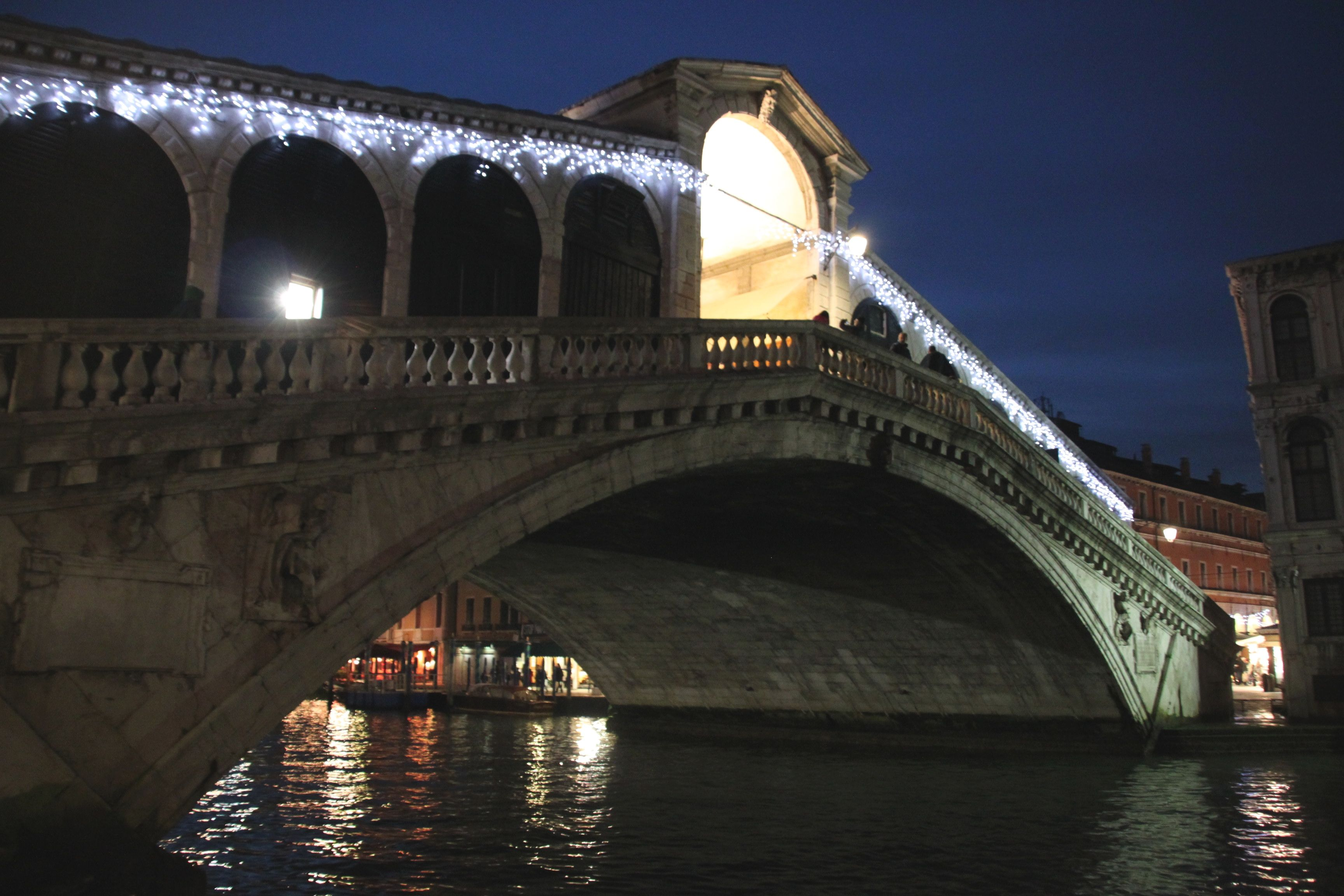 Christmas lights sparkling on the Rialto Bridge