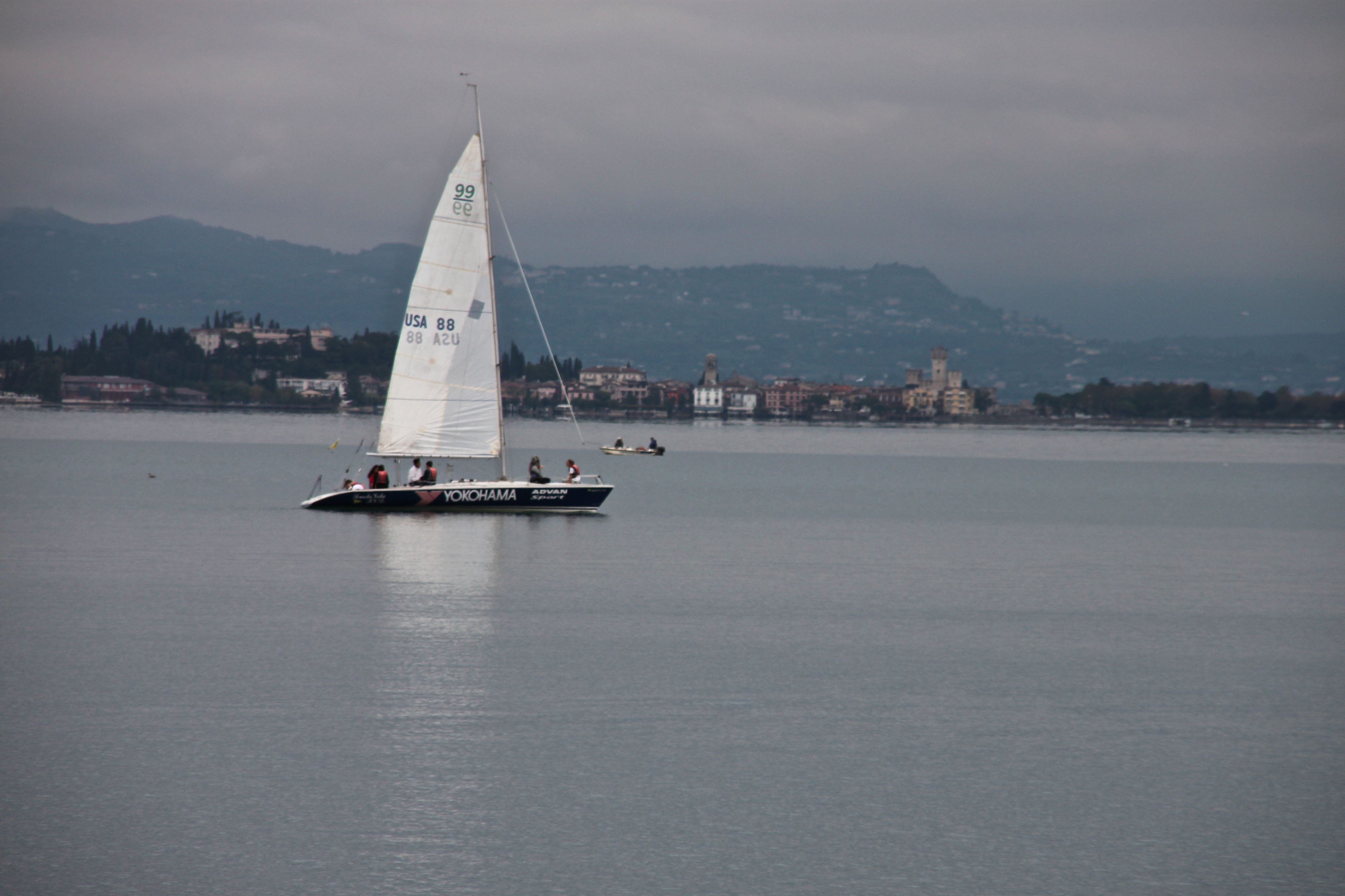 Serene sailboat on Lake Garda