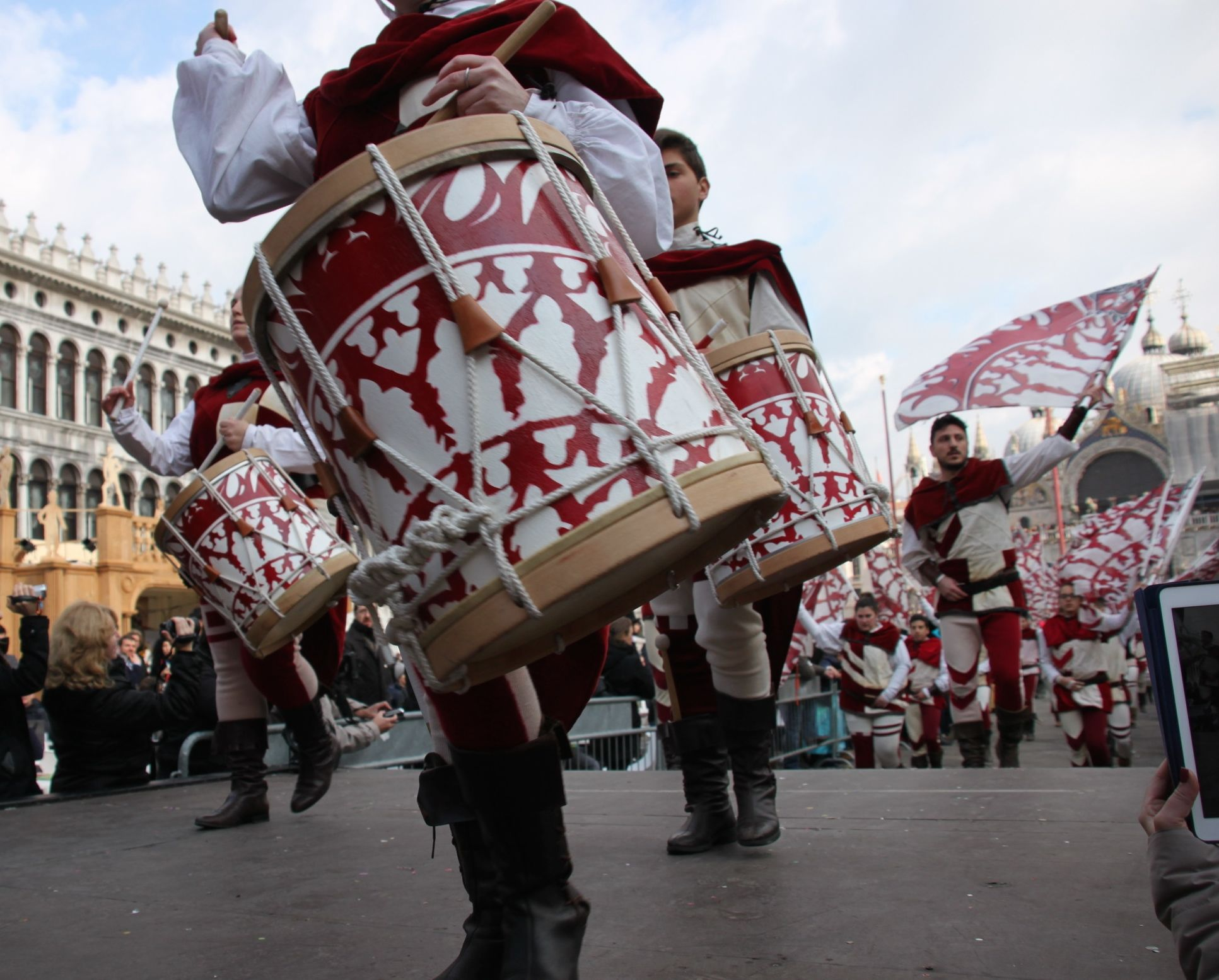 Drummers in St Mark's Square for Venice Carnival