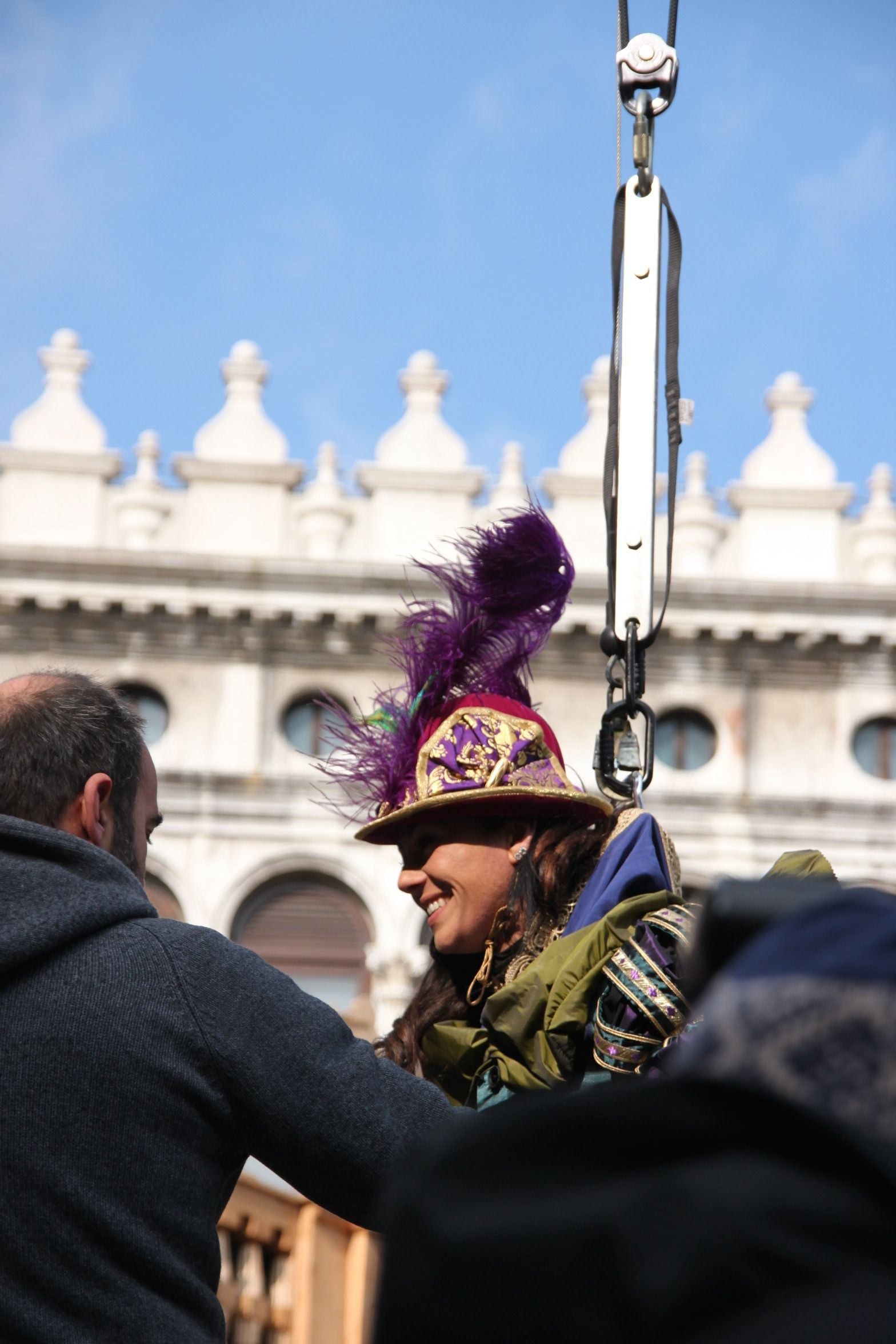Just landed - Venice's carnival flight of the eagle in St Mark's Square!
