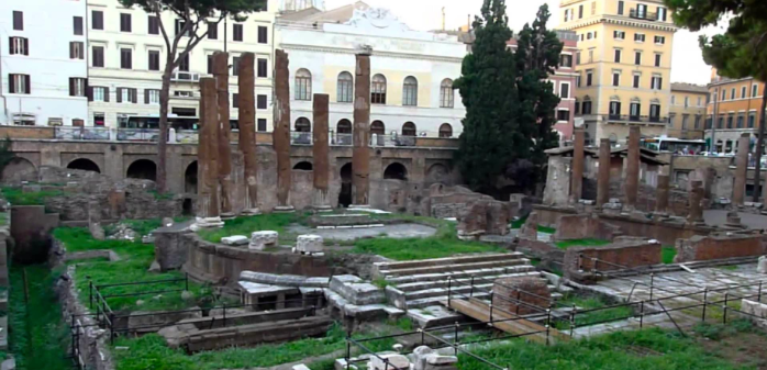The ruins of the Theatre of Pompey in the