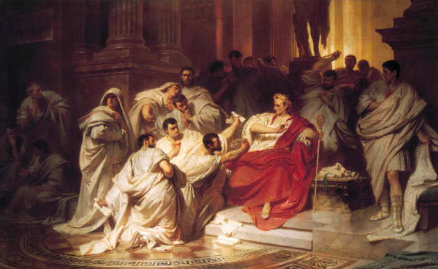 The senators encircle Caesar. A 19th-century interpretation by Karl Theodor von Piloty (1826-1886)