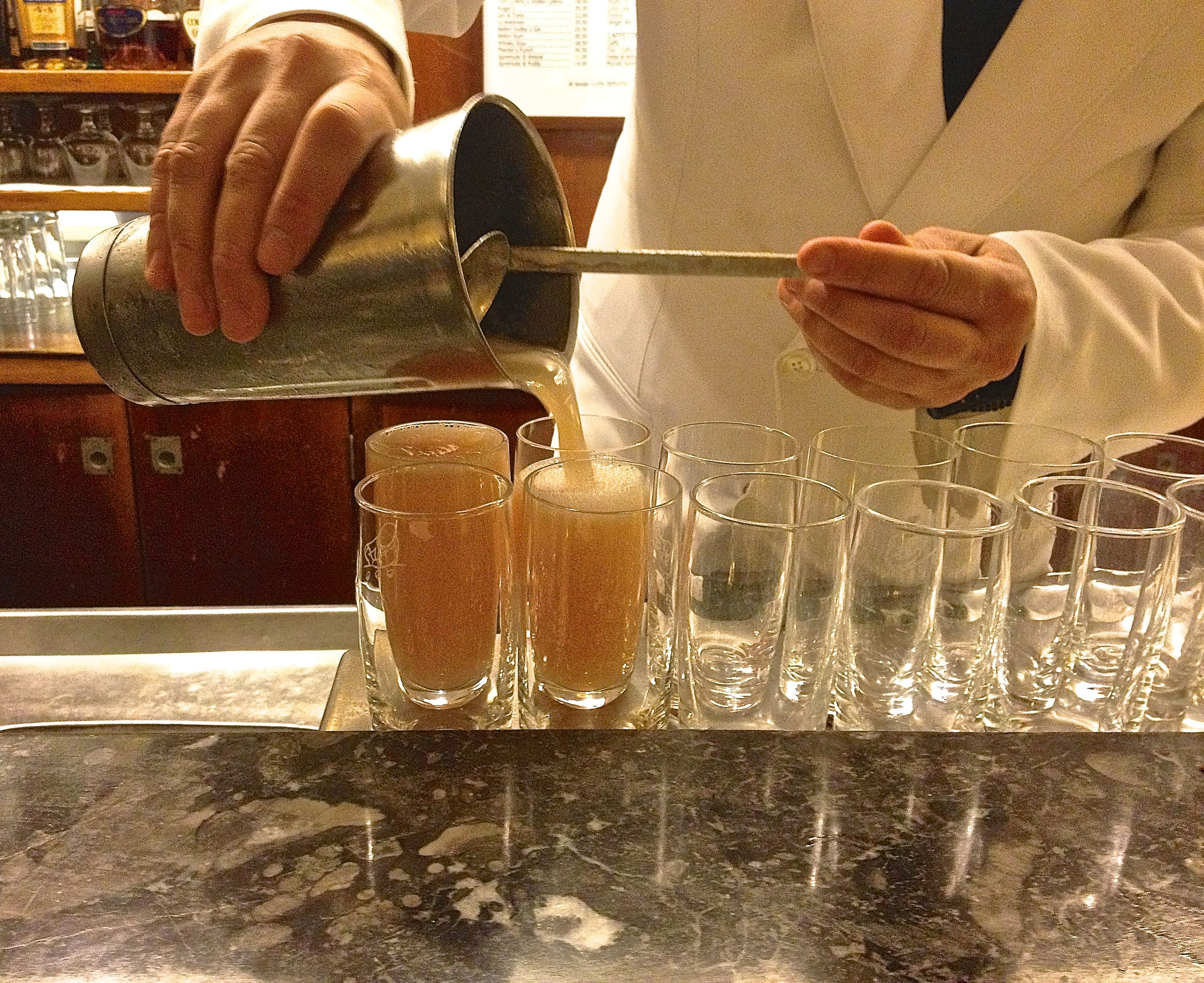 The Bellini production line at Harry's Bar, Venice