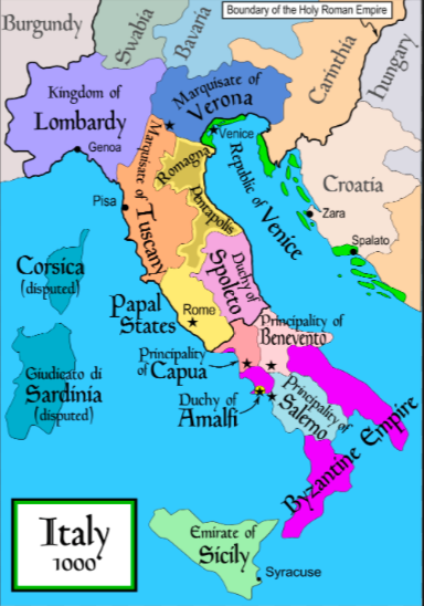 Political map of Italy in 1000 AD