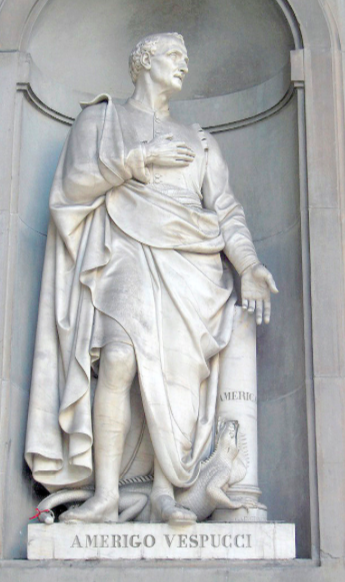 Statue of Amerigo Vespucci outside the Uffizi Museum, Florence (Photo credit : Wikipedia)