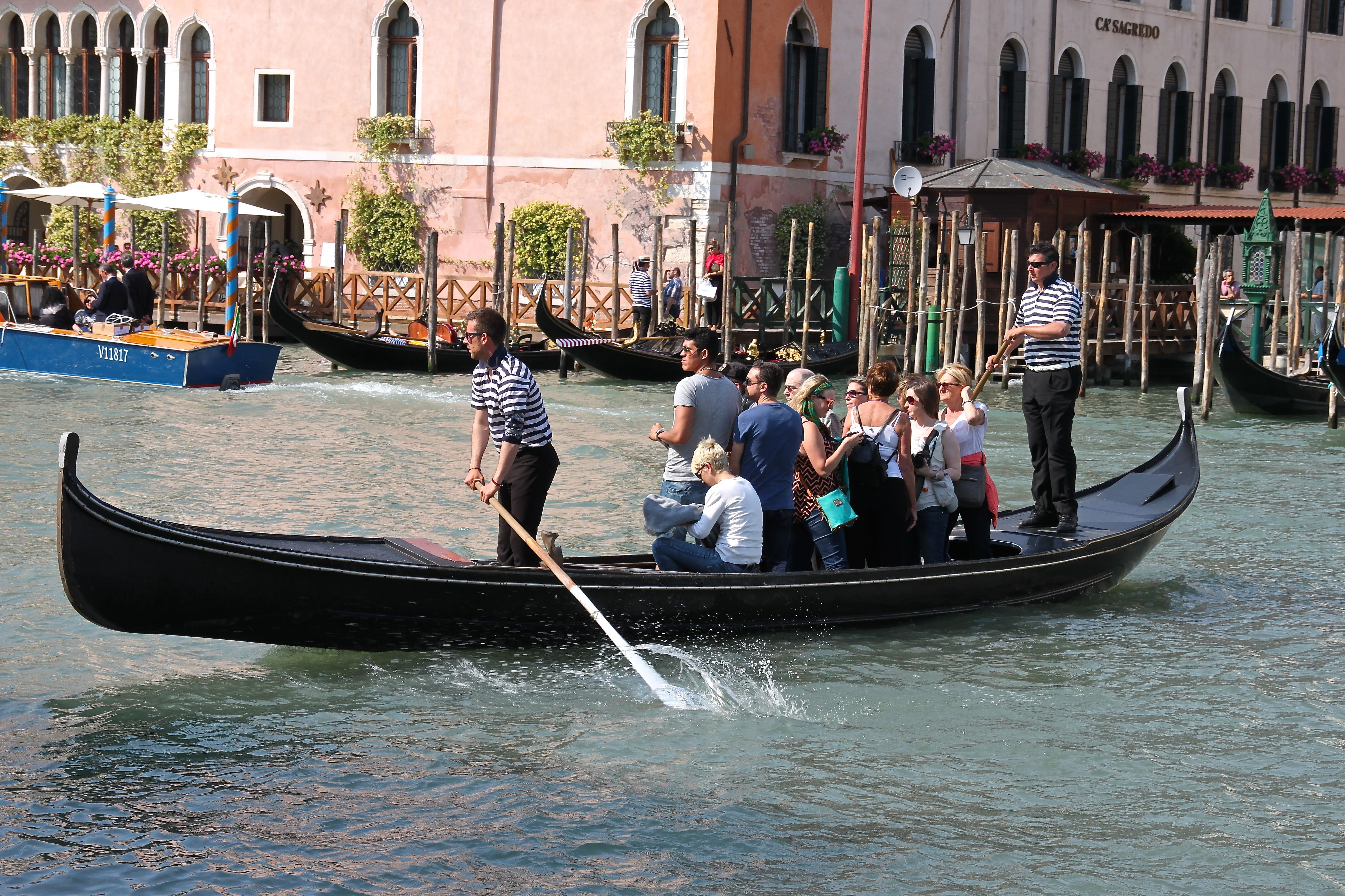 A traghetto gondola crossing the Grand Canal
