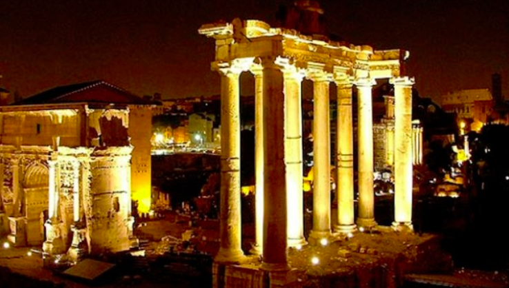 The illuminated Forum by night, Rome