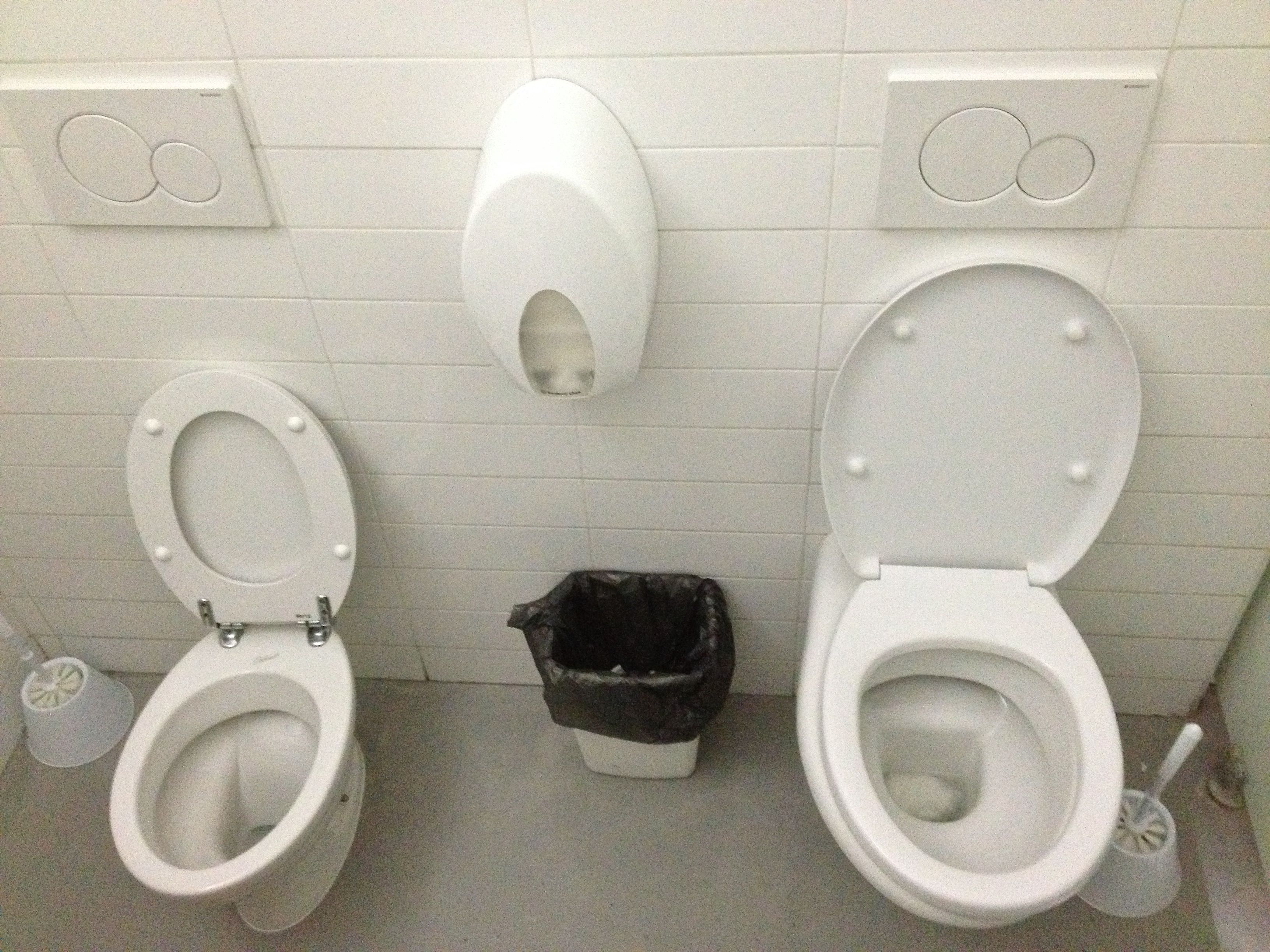 Tandem toilets - two toilets in one cubicle