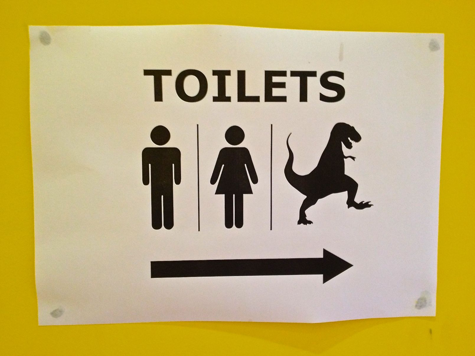 Mens, Ladies and TRex toilet sign