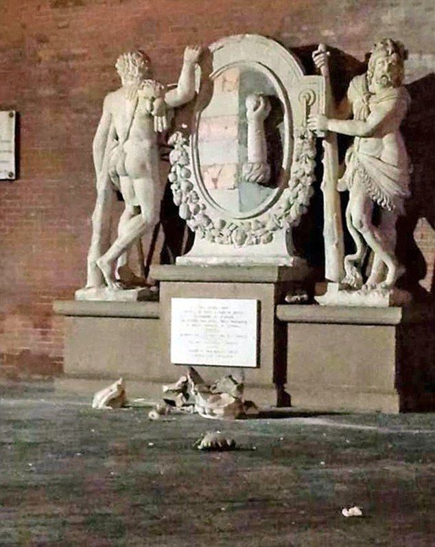 Tourists recently smashed the crown of this statue of Hercules in Cremona, Ital