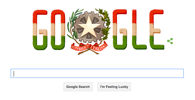 Screenshot of Google's commemoration of Italian Republic Day