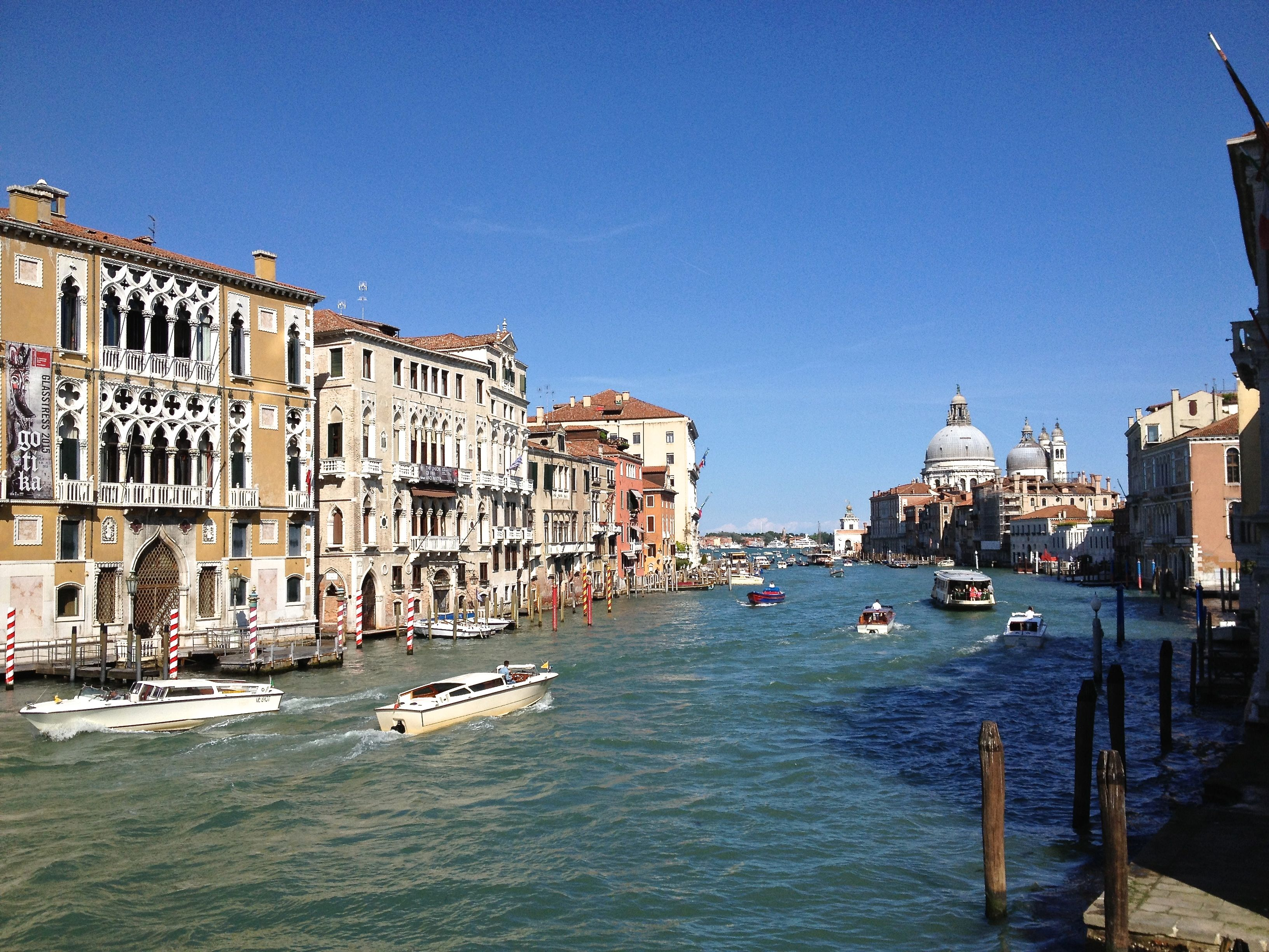 Photo of the view of the Grand Canal from the Accademia Bridge, Venice, Italy