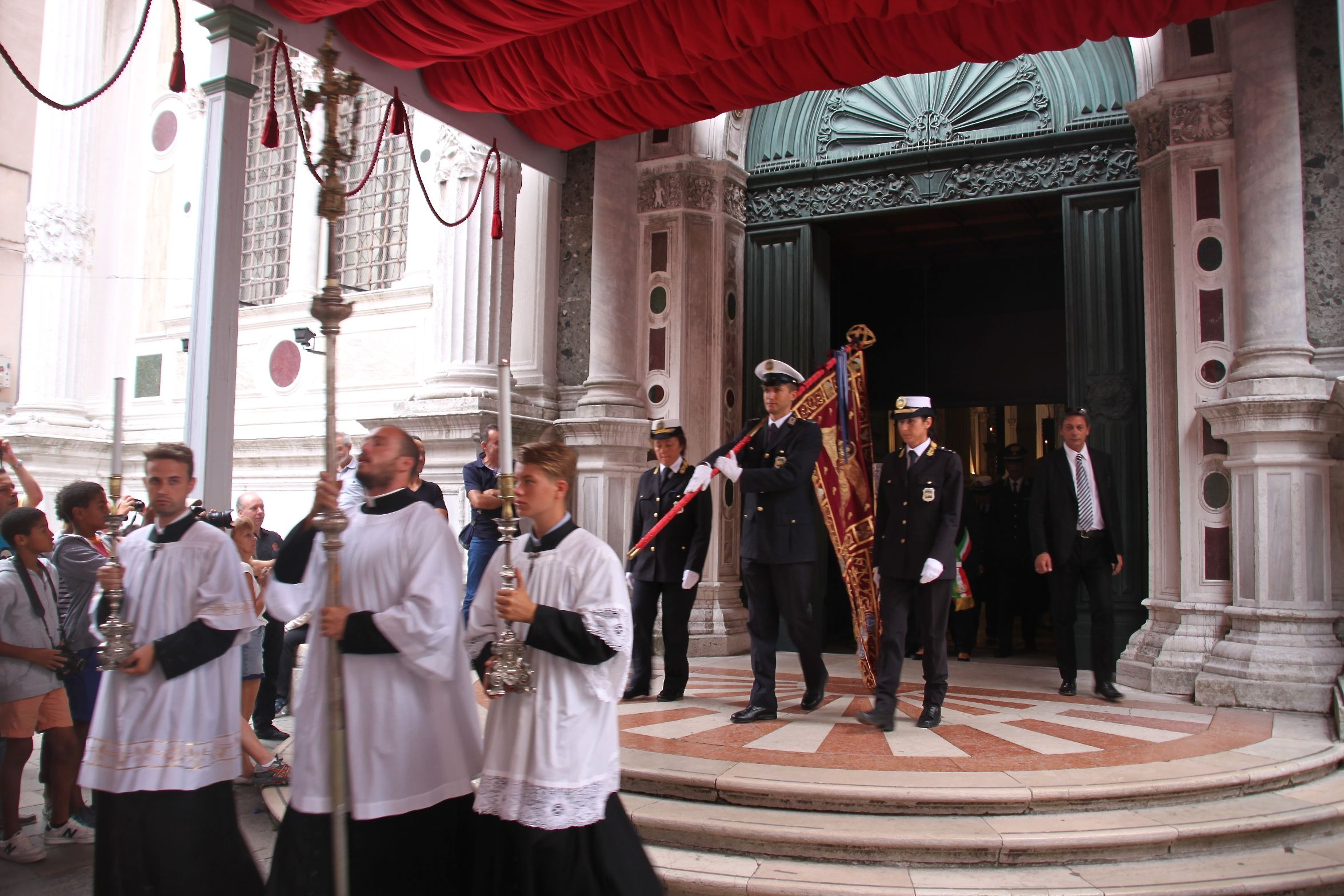 Festa di San Rocco - Members of the Venice Carabinieri Police Force process with the city's flag