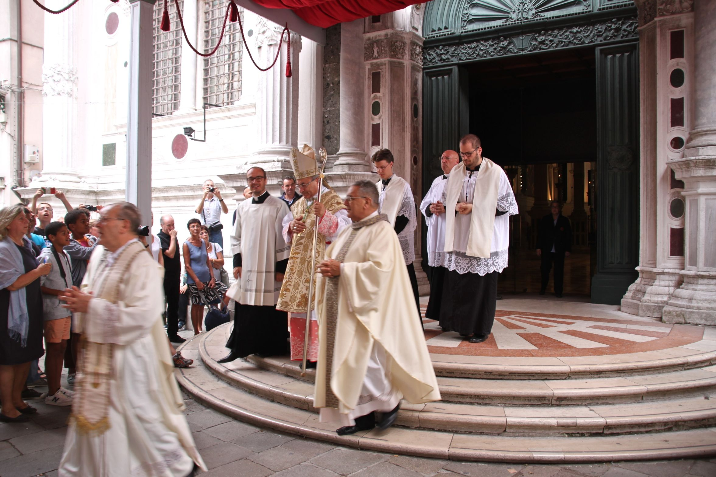 Festa di San Rocco - Clerics leave the Scuola Grande to process the short distance to the church for mass