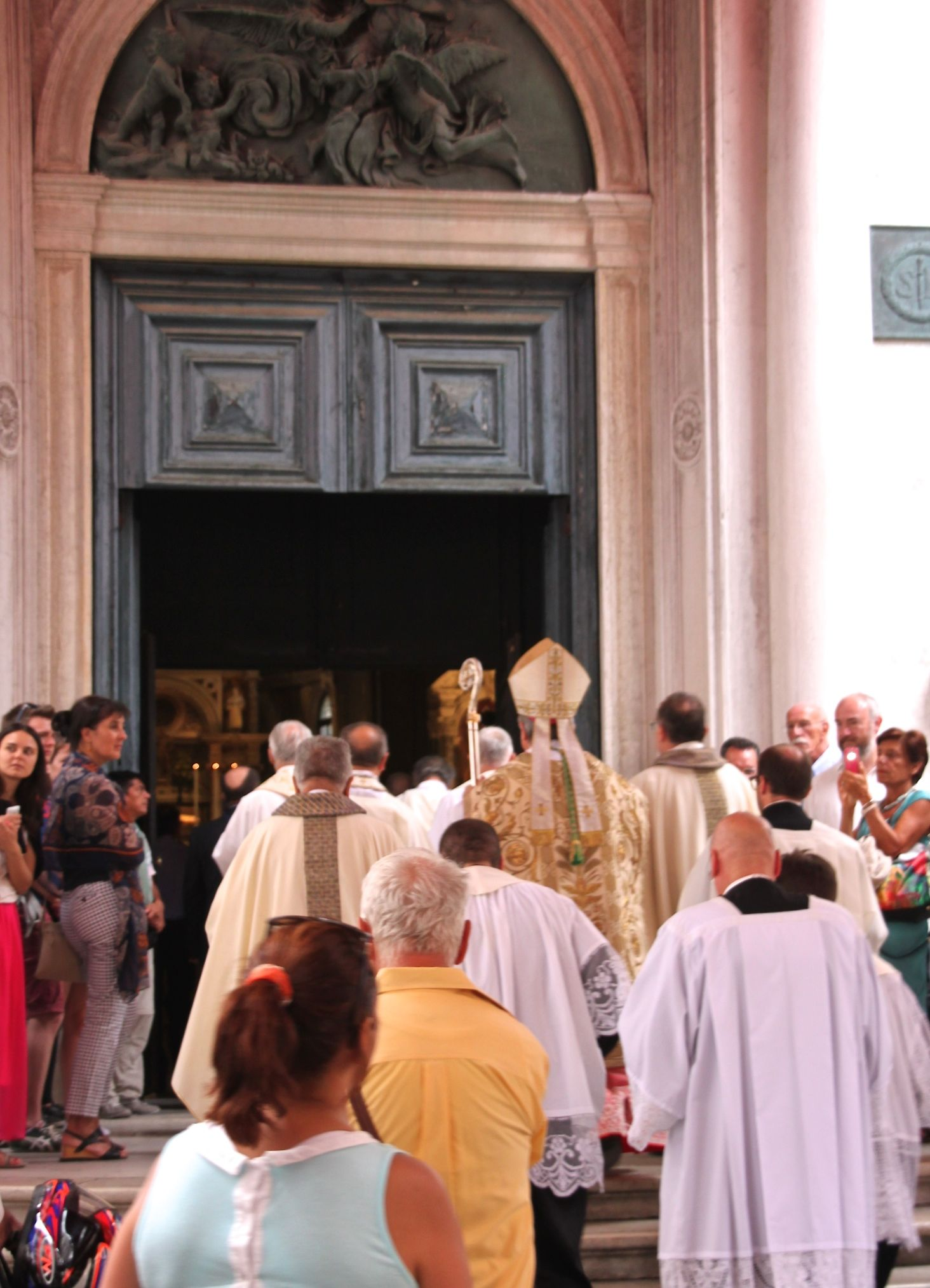 The procession for the Festa of San Rocco enters the church to begin the 6pm mass, August 16th