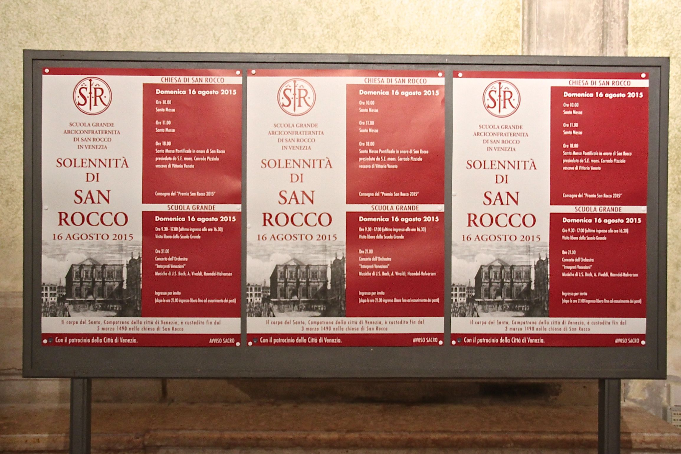 Posters announcing the festa or solennità di San Rocco on August 16th