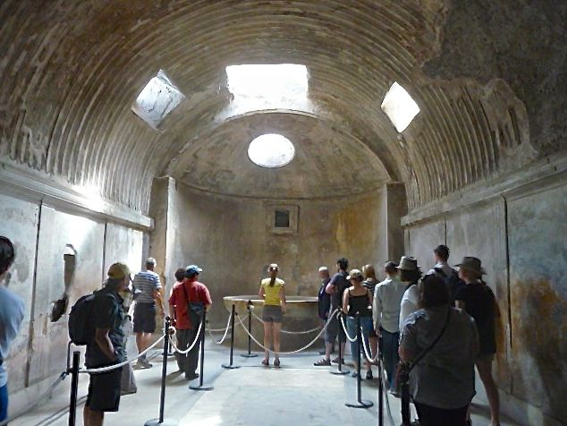 Ancient Pompeii had public baths for use by everyone - the changing rooms are beautifully decorated with paintings and carvings, possible to help you remember where you left your toga!
