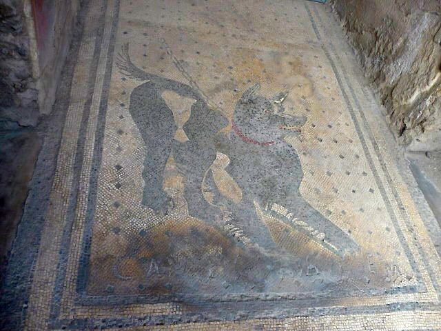 """Cave Canem"" - Beware of the dog mosaic at the entrance to a domestic house in ancient Pompeii"