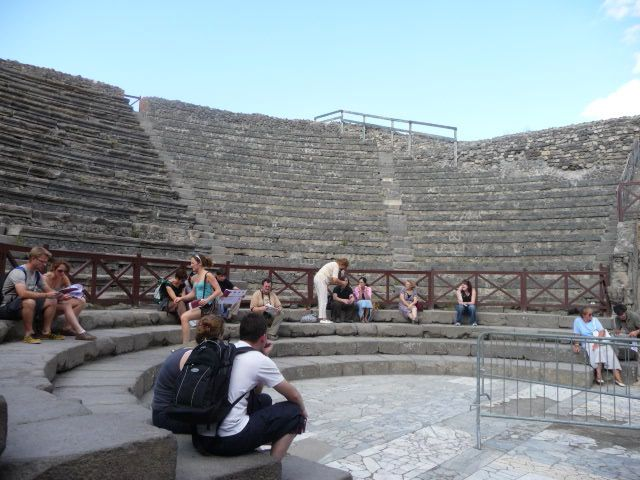Pompeii's theatre in a classic semi-circular design with banked stone seating
