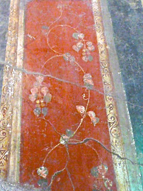 Brightly coloured frescoes decorated houses at Pompeii, near Naples