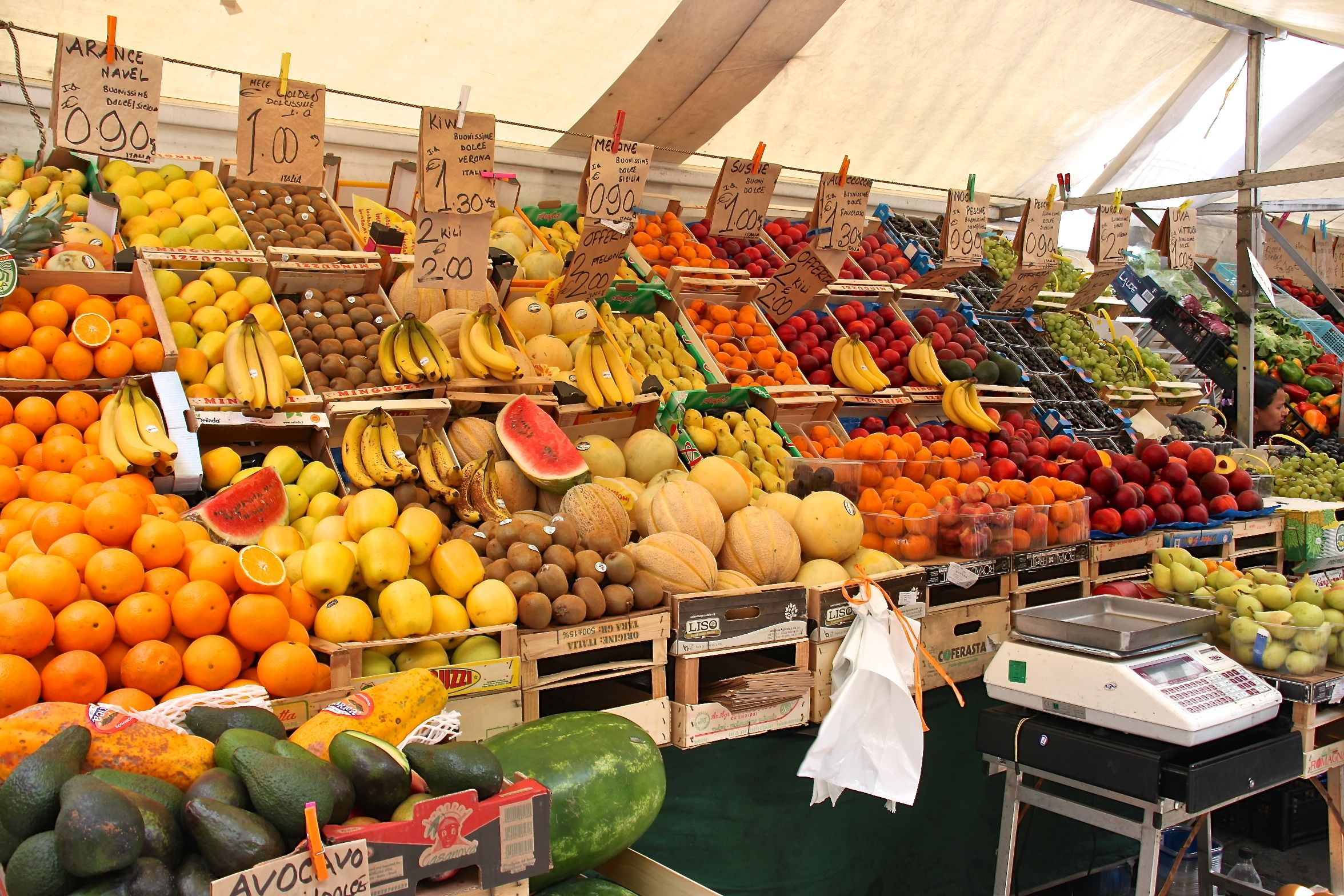 Padua's fruit and vegetable market is piled high with fresh, fragrant produce