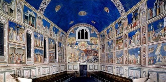 Giotto's masterpiece frescos in the Scrovegni Chapel, Padua