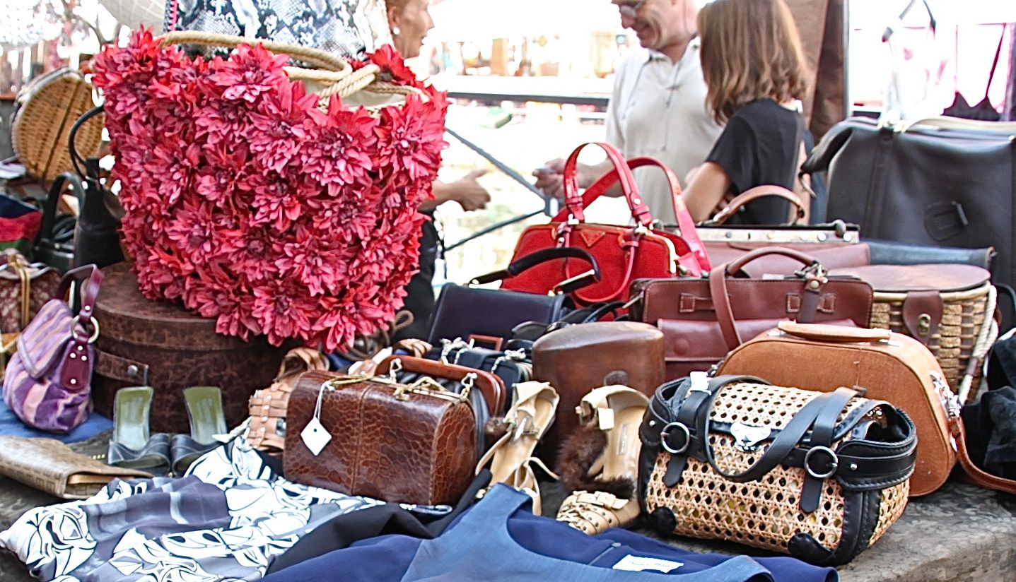 Vintage handbag heaven at Milan's monthly antique market along the canal side