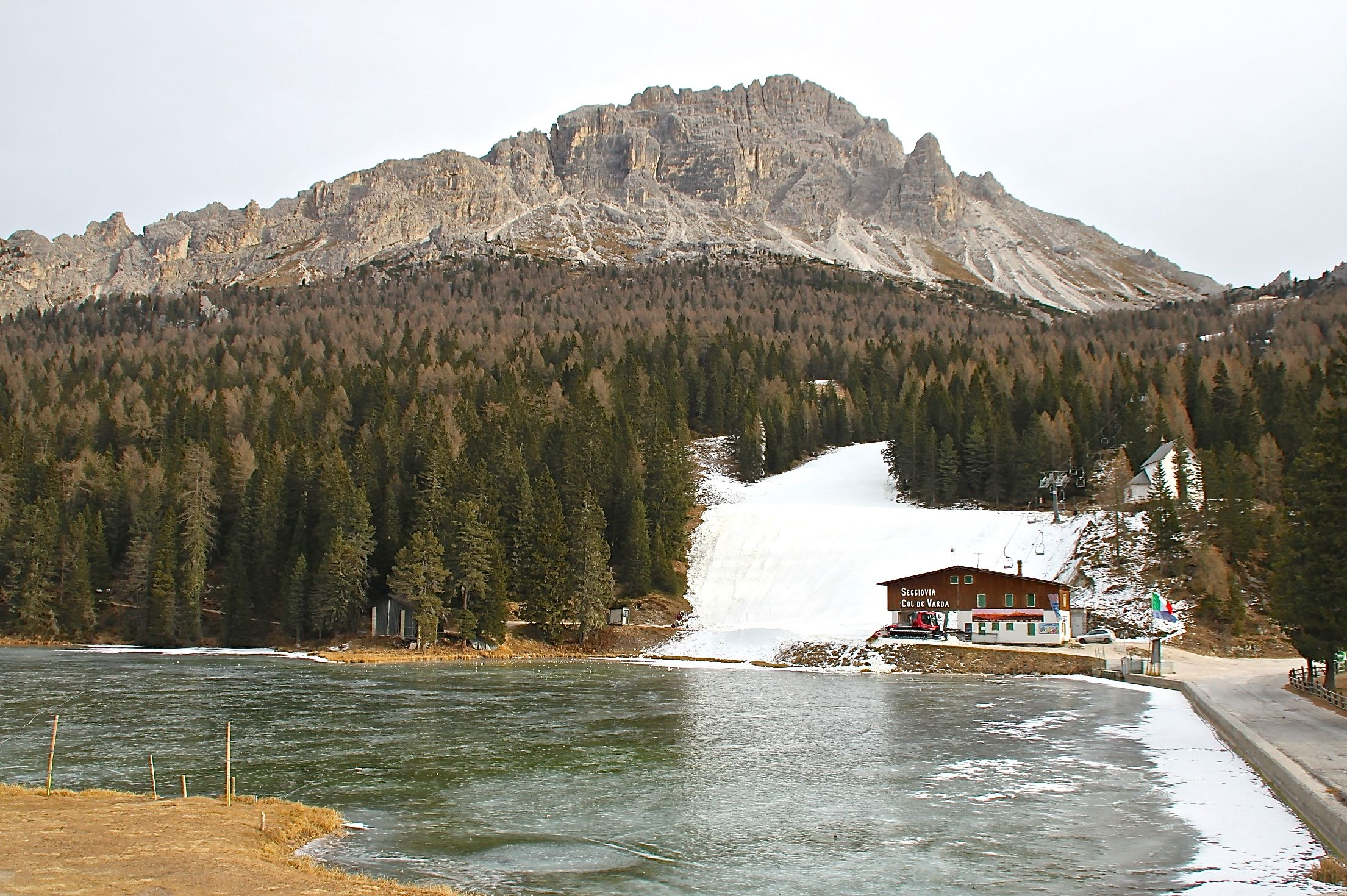 Lakes freeze up in the Dolomite mountain range from November through to Springtime